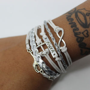 White and Silver Faith Bracelet